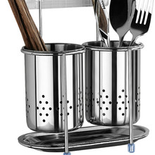 Creative kitchen household rack chopsticks wall-mounted stainless steel chopsticks storage bucket drain rackLB112627