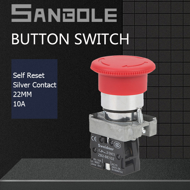 XB2 Emergency Stop 22mm Push Button Switch Lock Rotating Reset Red Mushroom Flat Head Silver Contact 10A NO NC