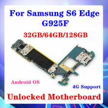 삼성 Galaxy S6 Edge G925F 마더 보드 용 32GB/64GB/128GB 안드로이드 OS SIM 카드 운영자 4G 지원 MB