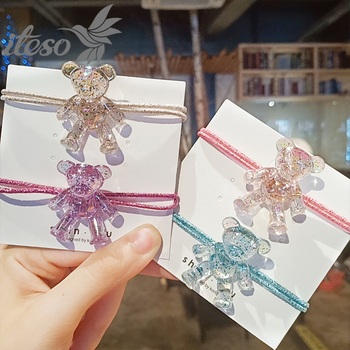 ITESO 2020 New Transparent Bear Women Elastic Hair Bands Ponytail Holder Scrunchie Rubber Bands Lady Hair Accessories iteso 2020 new crystal women hair ties girls elastic hair bands ponytail holder scrunchie rubber bands lady hair accessories