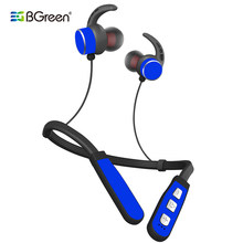 BGreen Sport Bluetooth Earphones Wireless Running Stereo Built in MP3 Headset Support TF Card With Mic Magnet Attraction(China)