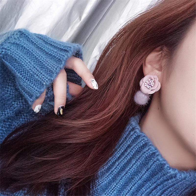 Plush Ball Fabric Flower Cute Sweet Autumn Fall Winter 2019 Women Girl Stud Earrings Korean Japan Fashion Jewelry MSE in Stud Earrings from Jewelry Accessories