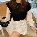 Женское винтажное платье с рукавами-фонариками, элегантная белая офисная одежда, корейские юбки, осень 2020, D09833Z