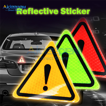 Car Reflective Sticker Triangle Safety Warning Sticker Car Body Decoration Reflective Sticker Car Accessories Yellow/Green/Red image