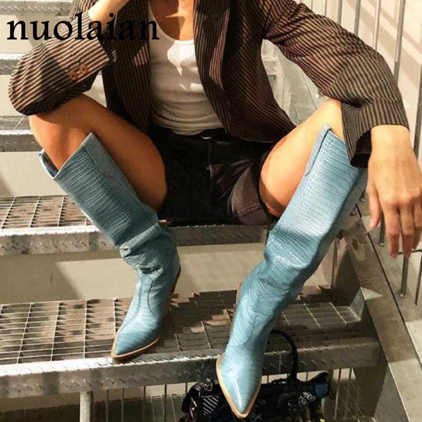 2019 Mới Nữ Đùi Cao Cấp Giày Nữ Đế Khởi Động Người Phụ Nữ Trên Đầu Gối Giày Nữ Cao Gót Da Lót Lông tuyết Bottine