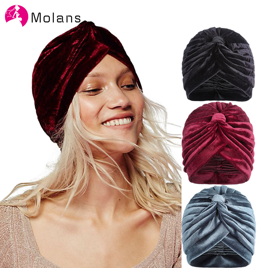 MOLANS Muslim Stretch Velvet Cross Twist Turban Hat New Spring Chemo Cap Women Beanies Caps Headwrap Turbante Hat Women Hijab