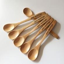 Cuchara de bambú reutilizable para miel, cuchara de cena lisa o grabada con láser, con texto de Jam, cuchara para té o café, agitadores, 10 Uds.