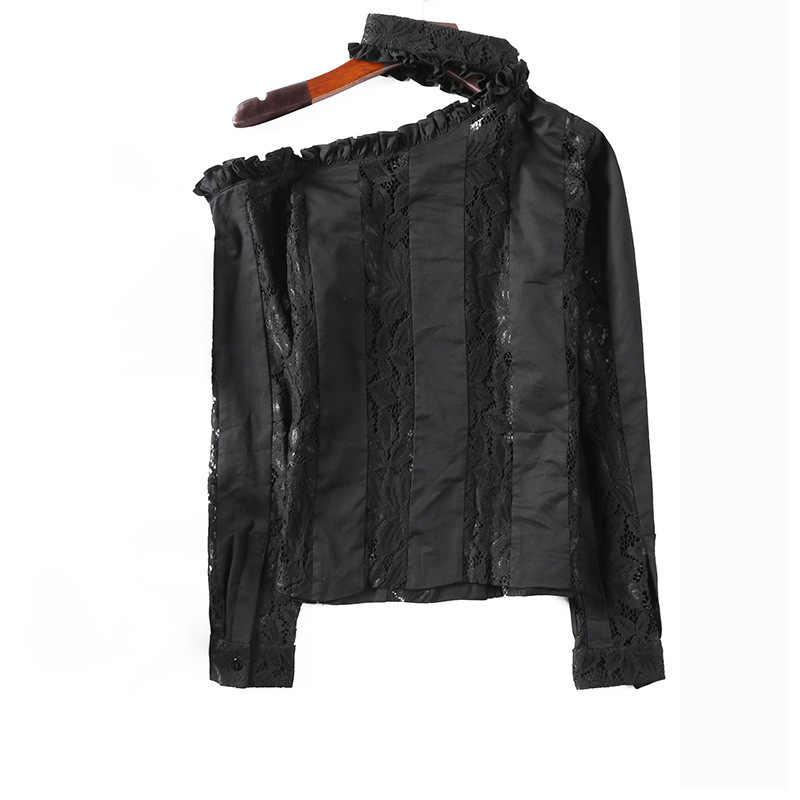 2020 projektant wysokiej jakości damska bluzka Hollow Out Ruffles Lace Off Shoulder topy słodka koszulka damska slim fit z długim rękawem