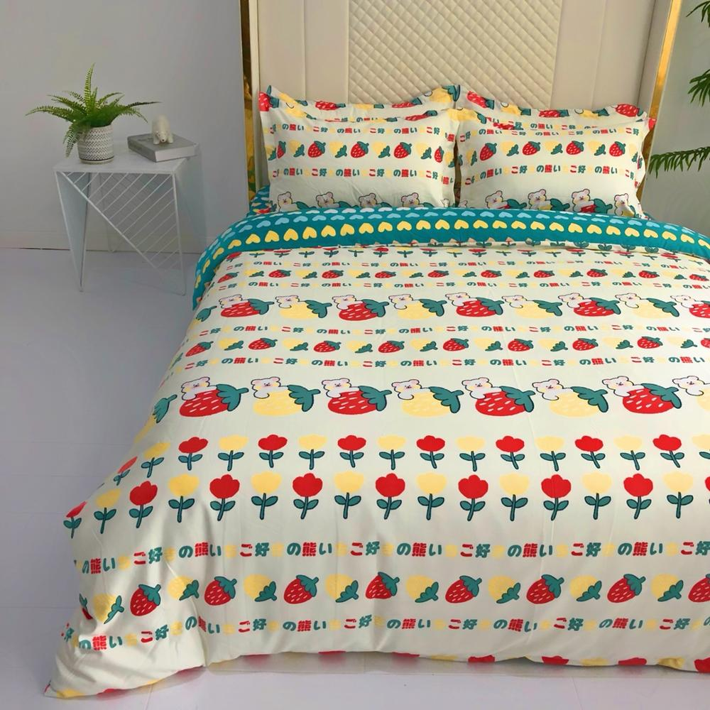 4 Pieces Bear Bedding Set Cartoon Duvet Cover 3D Print Strawberry Bed Quilt Cover For Bedroom Home Bed Cover Set With Bed Sheet 2