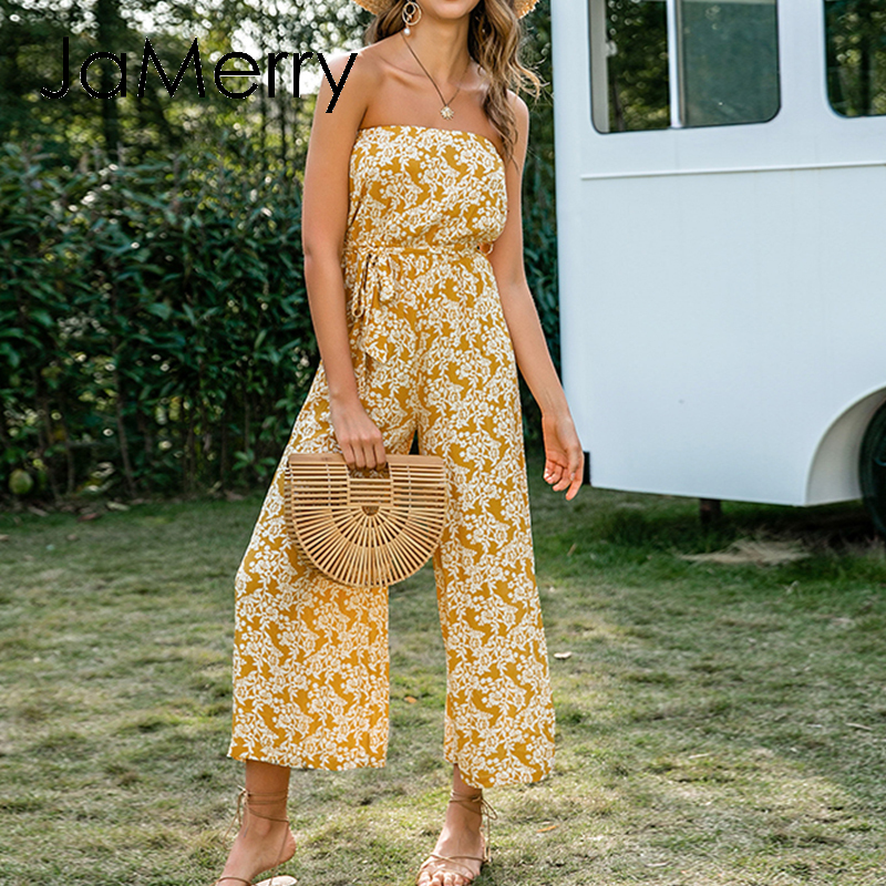 JaMerry Bohemian Floral Print Long Jumpsuit Women Summer Casual Wide Leg Loose Ladies Jumpsuits Tube High Waist Lace Up Jumpsuit