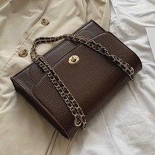 Grand fourre-tout Vintage en cuir PU pour femmes, sac à main de styliste à motif Crocodile, sacoche à épaule avec chaîne, nouvelle collection 2021