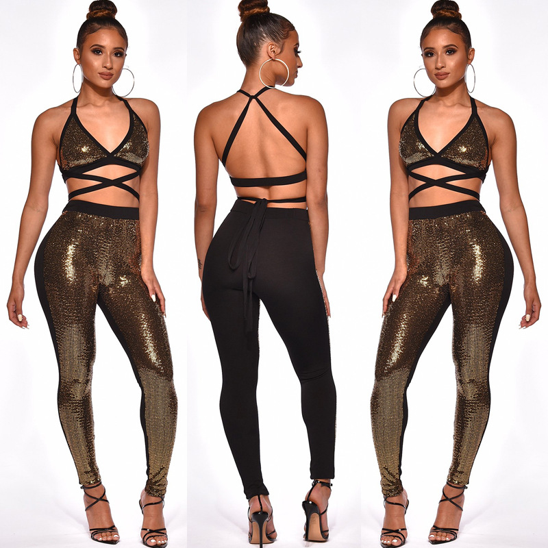 AliExpress WOMEN'S Dress Amazon Hot Selling Cross Border Foreign Trade Metal Color Halter Tops High-waisted Pencil Pants Set