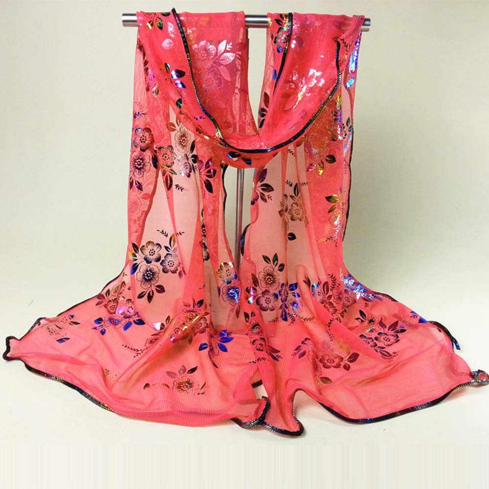 Lantejoulas vermelho escuro floral impressão feminino lenços vintage colorido flor rendas gaze véu envolve xale envoltório cachecol accesorios mujer