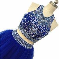Halter Homecoming Dresses 2020 Beading Royal Blue Graduation Dresses Prom Party Gowns Knee Length Vestidos De Gala Corto Formal