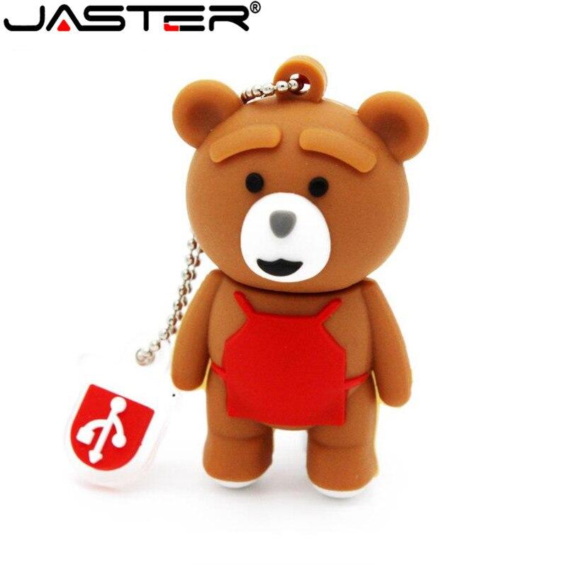 JASTER Cute Bear Model Pendrive 4GB 8GB 16GB 32GB 64GB Usb Flash Drive U Disk Memory Stick USB 2.0 U Disk Lovely Gift
