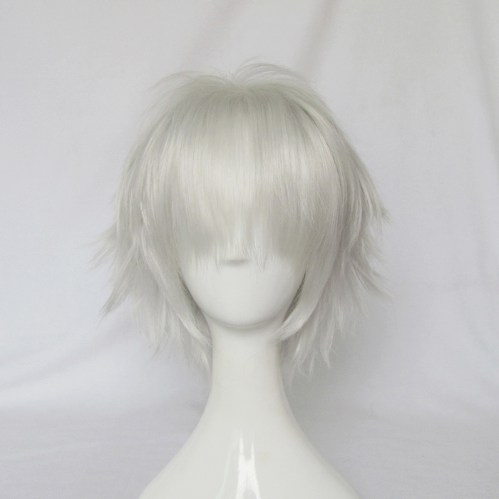 Dramatical Murder DMMD Clear Cosplay Wigs High-temperature Fiber Synthetic Hair Sliver Short Hair With Free Wig Cap