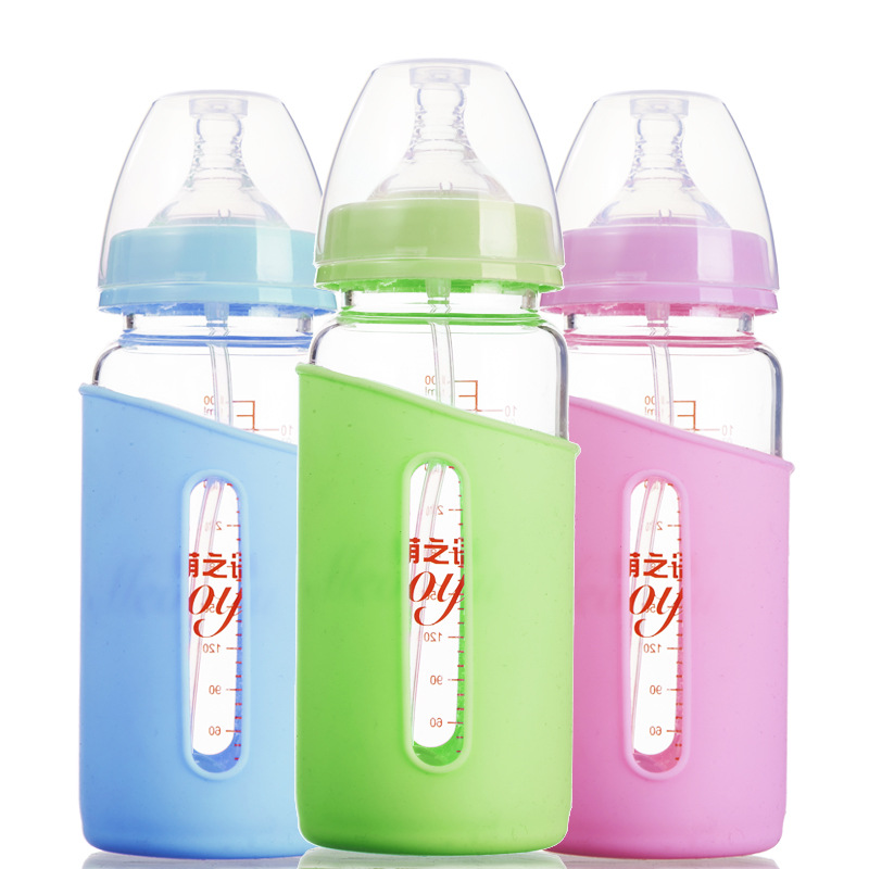 300ml Water Bottle Wide Mouth Straigt Garrafa 6M+ Baby Mamadeira High Quality Copo Infantil Silicone Case Anti-hot Glass Bottle