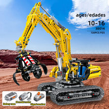 720pcs di controllo remoto escavatore rc moc technic escavatore blocchi giocattolo 38014 legoINGlys technic camion gru(China)