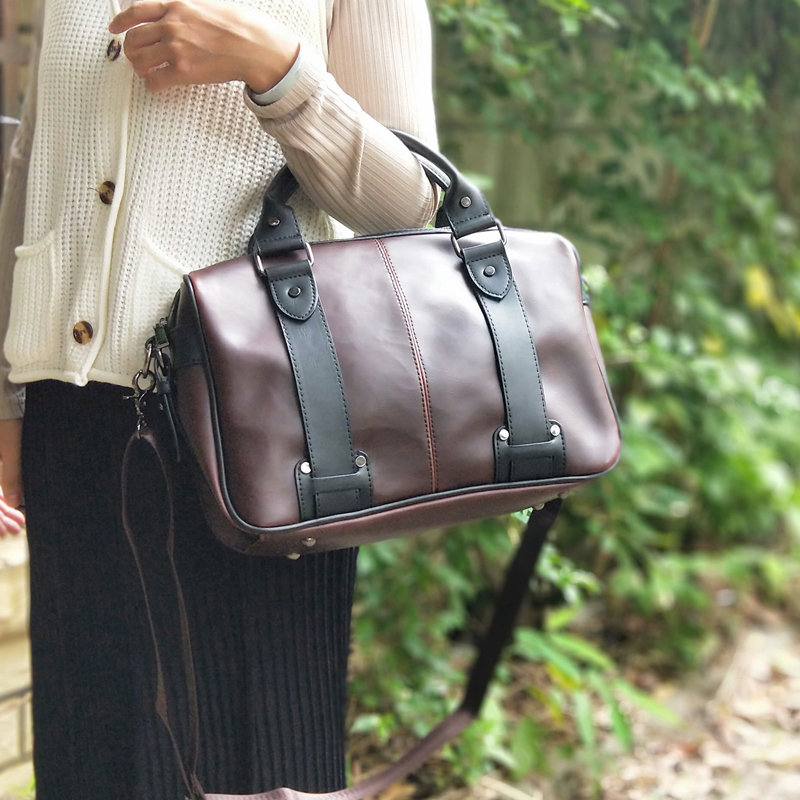 Vintage Russian Fashion Brand Design Women Leather Bag Horizontal Literary Handbag Dress OL Business Block Color Briefcase