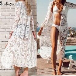 Saída de banho bordada, vestido de cobertura para roupa de praia kimono, kaftan, sarongue roupa de praia