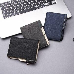 Image 2 - WILLIAMPOLO Small wallet Men Denim purse credit card Holder  coin purse  Leisure Driver License Zipper wallet 2019 fashion