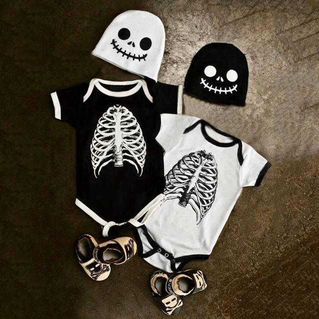 SET SKULL HALLOWEEN BABY ROMPER (2 VARIAN)