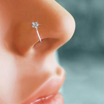 Unisex Plum kwiat z kryształkiem nos kolczyk obręcz świecący kolczyk w nosie piercing tanie i dobre opinie STAINLESS STEEL Metal Klasyczny Nose Ring PLANT Kolczyki w nosie i szpilki Nose Ring Septum Fake Piercing Earrings Rings