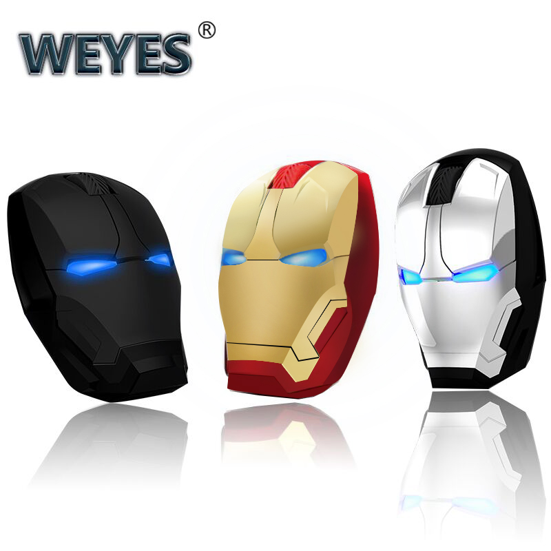 Iron Man Mouse Wireless Mouse Gaming Mouse Gamer Computer Mice Button Silent Click 800/1200/1600/2400DPI Adjustable Computer