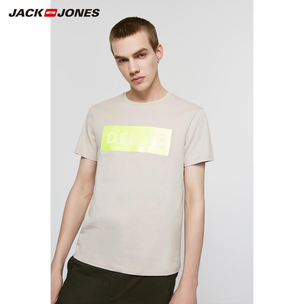 JackJones Men's Spring Fashion 100% Cotton Round Neckline Printed Short-sleeved T-shirt|Streetwear 219201542