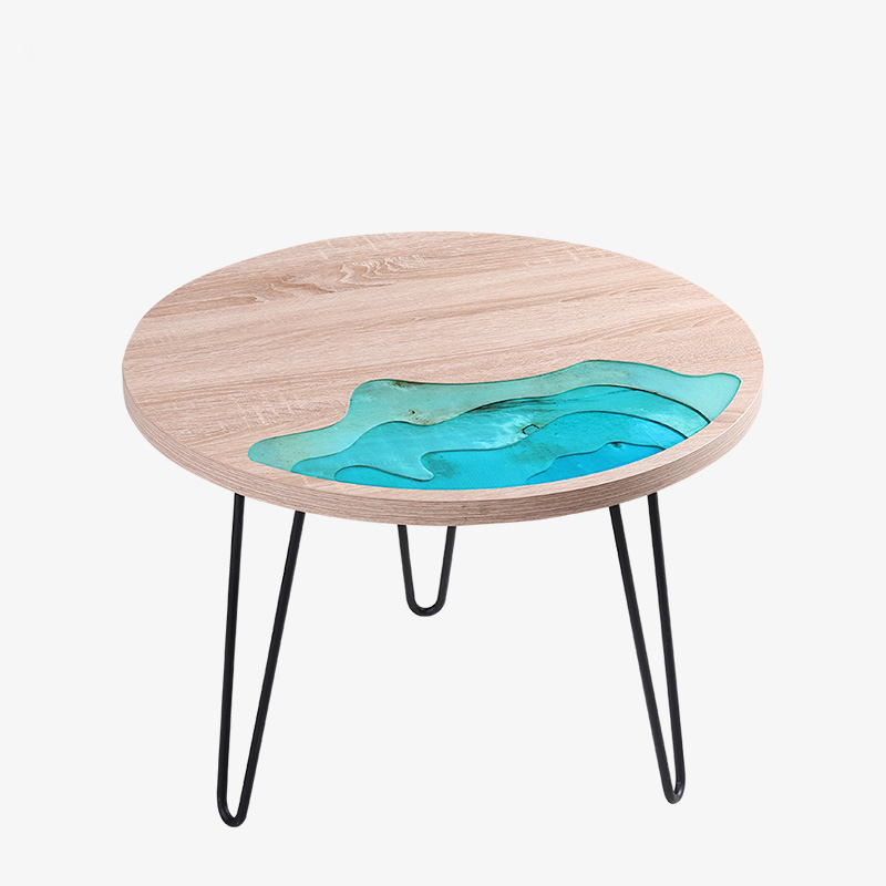 Creative Wooden Round River Coffee Table Corner Side Modern Melamine Board Enviromental Freidly Decorative Home
