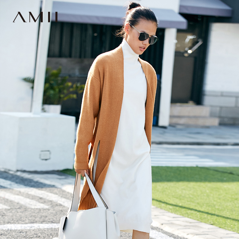 Amii Winter Autumn Women Long Knitted Cardigan Female Fashion Hollowed Out Solid Long Sleeve Sweater 11777064