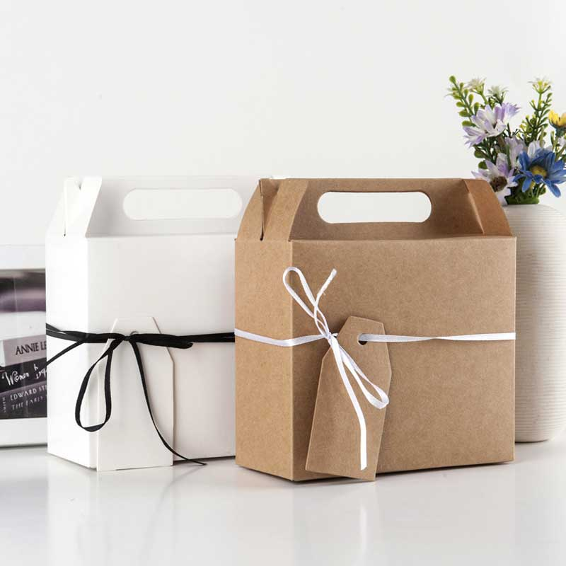 5Pc Big Gift bag <font><b>with</b></font> <font><b>handles</b></font> Gift <font><b>Box</b></font> food cake Candy Boxes <font><b>Kraft</b></font> <font><b>Paper</b></font> cardboard <font><b>Box</b></font> Packaging Wedding Birthday Party Favors image