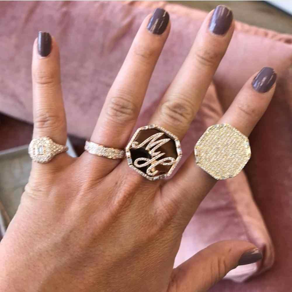 GODKI 2019 อินเทรนด์เรขาคณิตสแควร์ Cubic Zircon Stacks แหวนสำหรับแหวนลูกปัด Charm แหวนเครื่องประดับ Bohemian Beach 2019