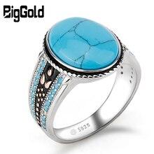 Mężczyźni pierścień z turkusowym rocznika 925 Sterling Silver owalne błękitny kamień życie utwór znaczenie biżuteria męska prezent SJR 2018041201