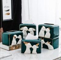 European Ceramic Animal Tissue Box Living Room Hotel Supplies Home Decor Paper Box Abstract Art Craft Coffee Table SuppliesLF979