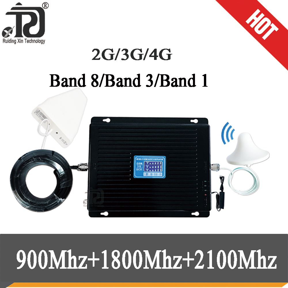80dB Gain 2G 3G 4G Tri Band Signal Booster 900 1800 2100 Signal Repeater GSM WCDMA UMTS LTE Cellular Repeater  Set
