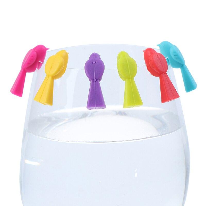 6PCS Silikon Vogel Titten Wein Glas Mark Wein Glas Recognizer Tasse Unterscheidungsmerkmal Zu Verwenden (Mischfarbe)