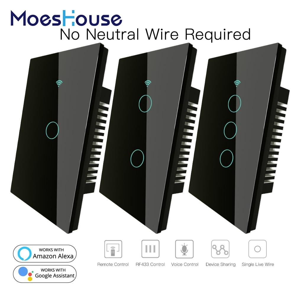 Alexa et Google Home Noir MOES Interrupteur mural intelligent RF433 avec fonction Wifi Aucun fil neutre n/écessaire,1 voie Interrupteur intelligent compatible avec Smart Life//Tuya App 1 Gang