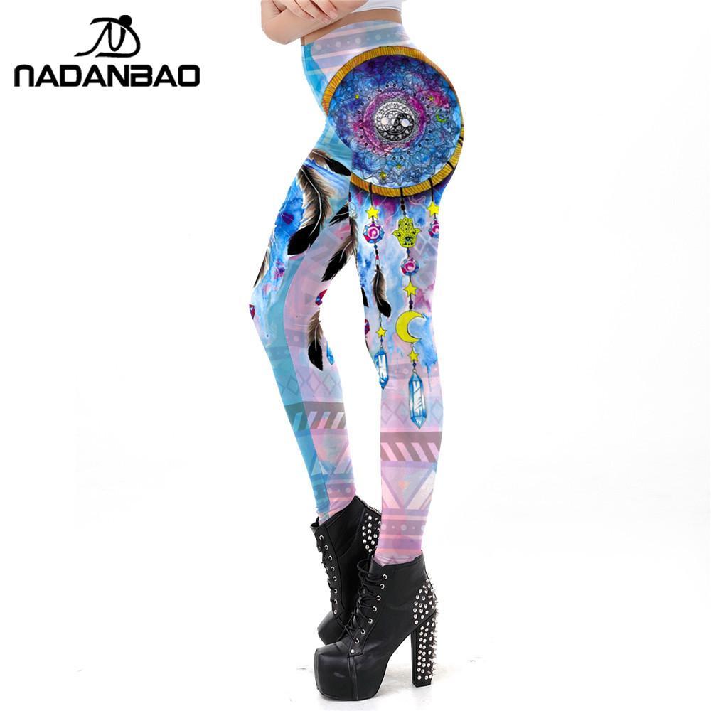 NADANBAO New Dreamcatcher Printing Leggings For Fitness BOHO Style Pants Workout Leggins Galaxy Slim Elastic Outside Legins