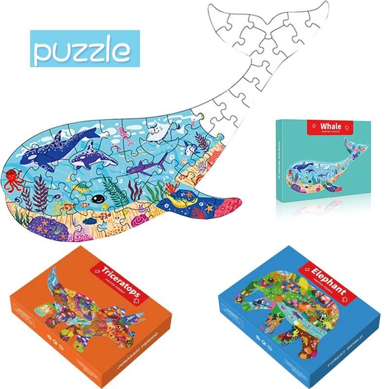 Головоломки животных для детей головоломка Монтессори коробка развивающие игрушки для детей, бумажные пазлы, игры Монтессори детские игру...