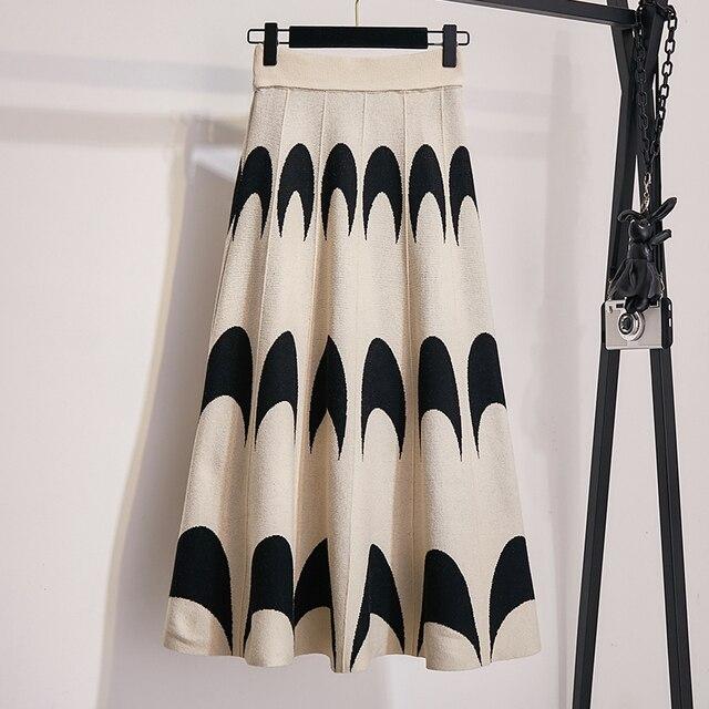 Winter Autumn 2019 Skirts Womens Knitting Wool Pleated Long Skirt Moon Print High Waist Elastic Large Hem Midi Skirts 2