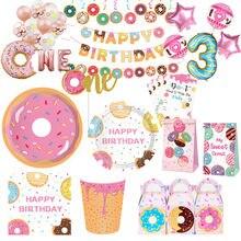 Donut festa de aniversário decoração crianças banner balão descartáveis utensílios de mesa donut festa de aniversário 1st festa de aniversário menino menina chá de fraldas