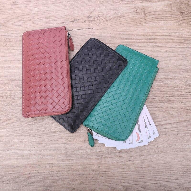 Cartera de mano tejida para mujer, billetera ultradelgada, sencilla, con bolsillo para cambiar, a la moda, 100% de marca de lujo, piel de oveja, 2020