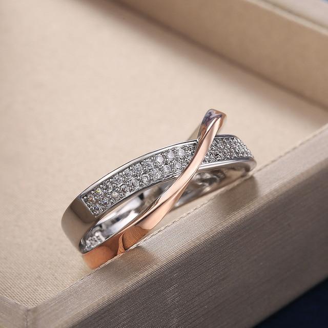 beautiful two-tone criss-cross diamonelle ring 5