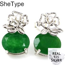 15x10mm Elegant 3.4g Real Green Emerald 925 Solid Sterling Silver Stud Earrings