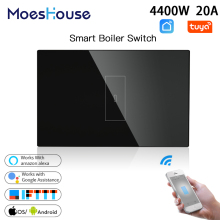 US WiFi Smart Boiler Glass Panel Switch 4400W Life Tuya App Remote Control Water Heater Switch,Work with Alexa Google Home