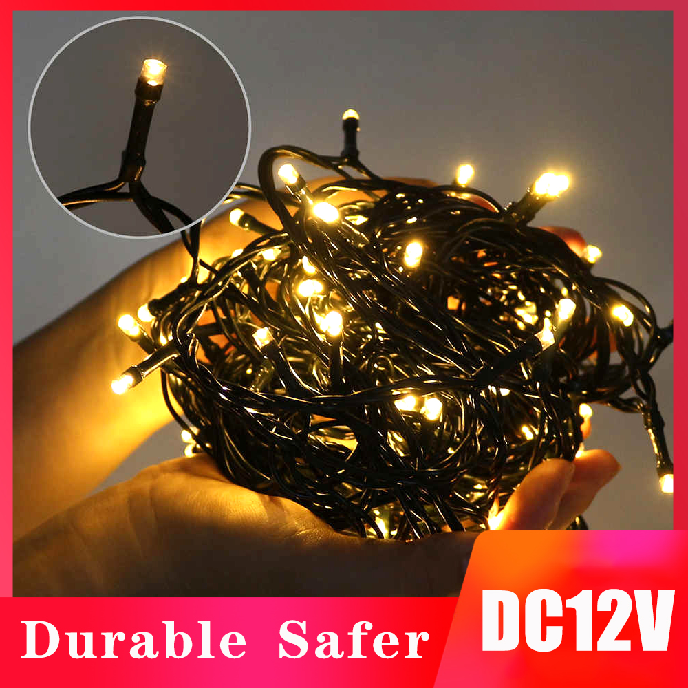 LED Fairy String Lights DC 12V Waterproof 10M 20M Dark Green Wire Outdoor Indoor LED Holiday Lights Christmas Decoration