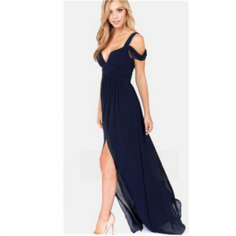 2016 New Arrival Long Evening Dress,Bariano Ocean Of Elegance Navy Blue Color Chiffon Women Gown Evening Dresses