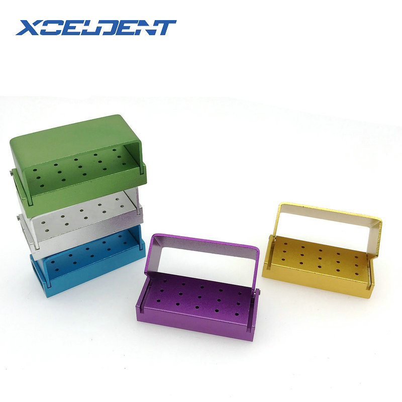 15 Holes Dental Bur Holder Stand Autoclave Disinfection Box Case For High Speed Burs Dental Laboratory Equipment