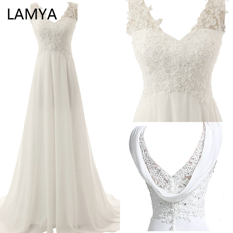 LAMYA White Chiffion Beach Wedding Dress Plus Size Bridal Gown Lace Appliques Wedding Dresses Ivory Backless Vestido De Noiva